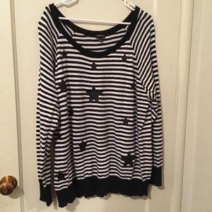 Torrid Black and White stripes long sleeve sweater